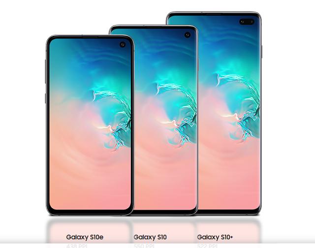 Samsung Galaxy S10, S10+ e S10e