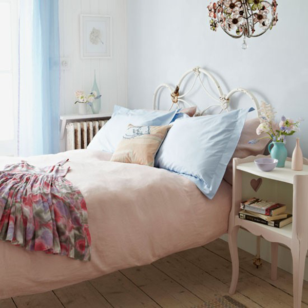 powder pastel pink country bedroom