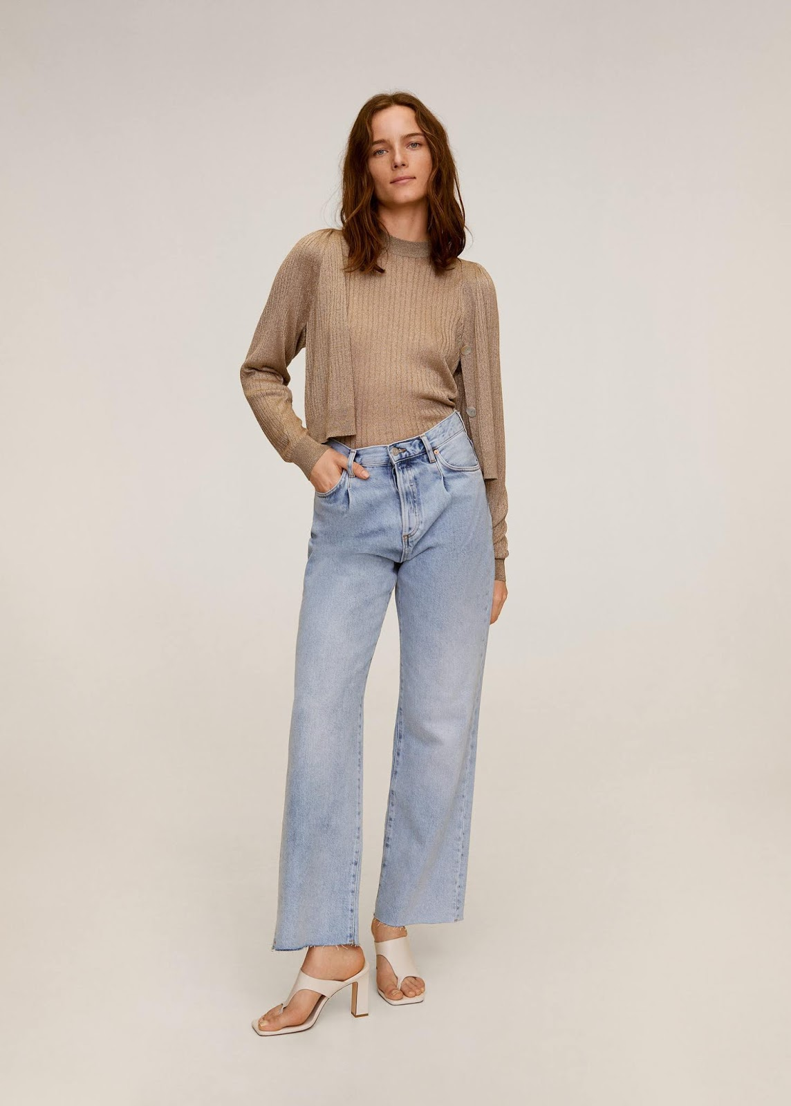 Denim Outfit Idea for Spring — Metallic cardigan and sweater matching set, culotte cropped wide-leg jeans, and white mule sandals