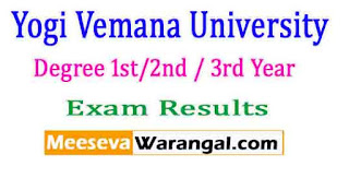 Yogi Vemana University Degree 1st/2nd / 3rd Year Nov 2016 Exam Results