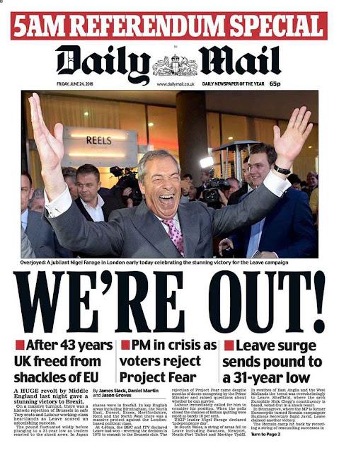 """A manchete """"Estamos fora!"""" do Daily Mail sintetizou o brado de alivio da maioria dos britânicos"""
