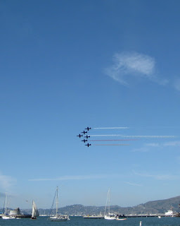 Patriots Jet Team in formation over San Francisco Bay, California
