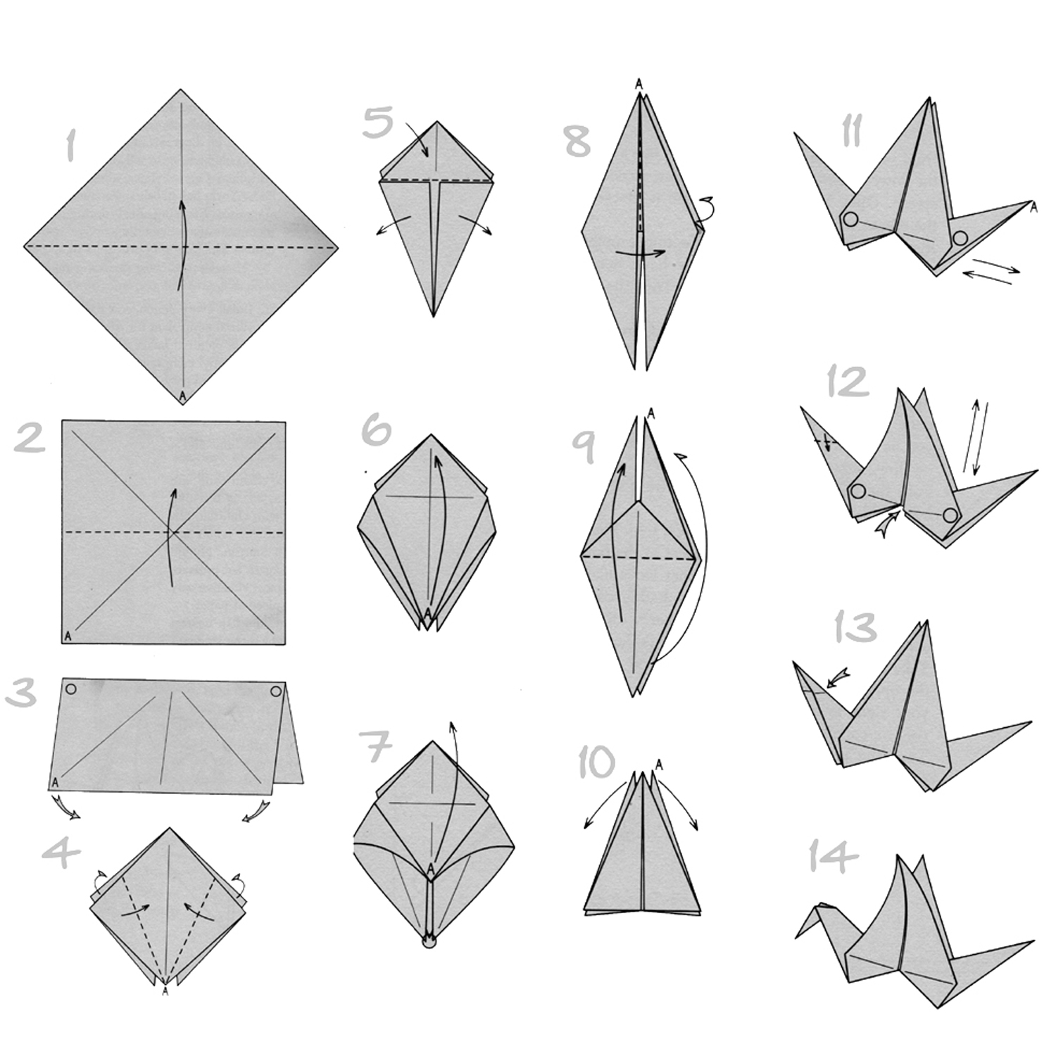 easy origami kids: printable instructions for origami crane | 1500x1500