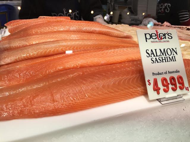 Sydney Fish Market - Salmon Sashimi