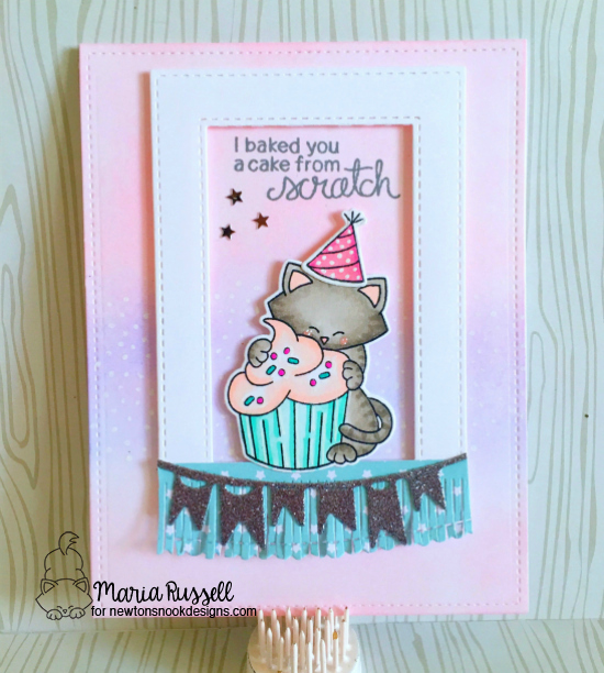 Cat and cupcake Birthday card by Maria Russell | Newton Loves Cake Stamp Set by Newton's Nook Designs