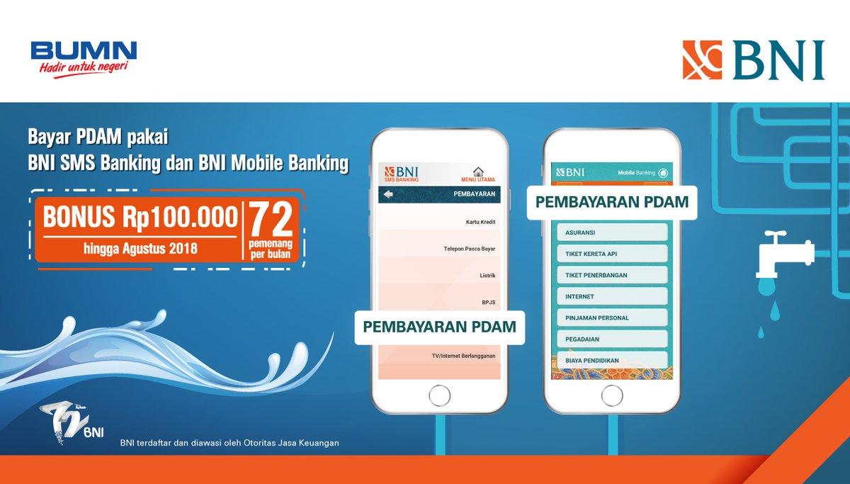 Bank BNI - Bonus 100 Ribu Pembayawan PDAM Pakai SMS & Mobile Banking