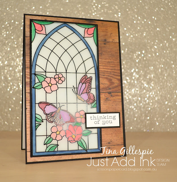 scissorspapercard, Stampin' Up!, Just Add Ink, Painted Glass, Flourishing Phrases, Graceful Glass, Wood Textures DSP, Stampin' Blends, Sympathy Card