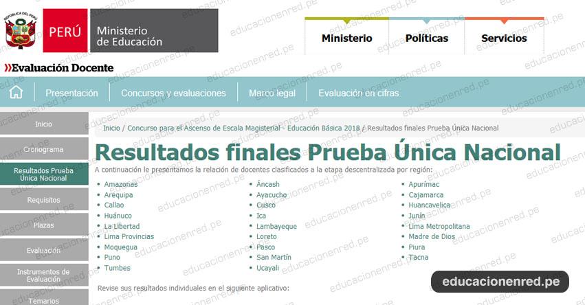 MINEDU: Resultados Finales Examen de Ascenso de Escala Magisterial 2018 (Miércoles 22 Agosto) www.minedu.gob.pe