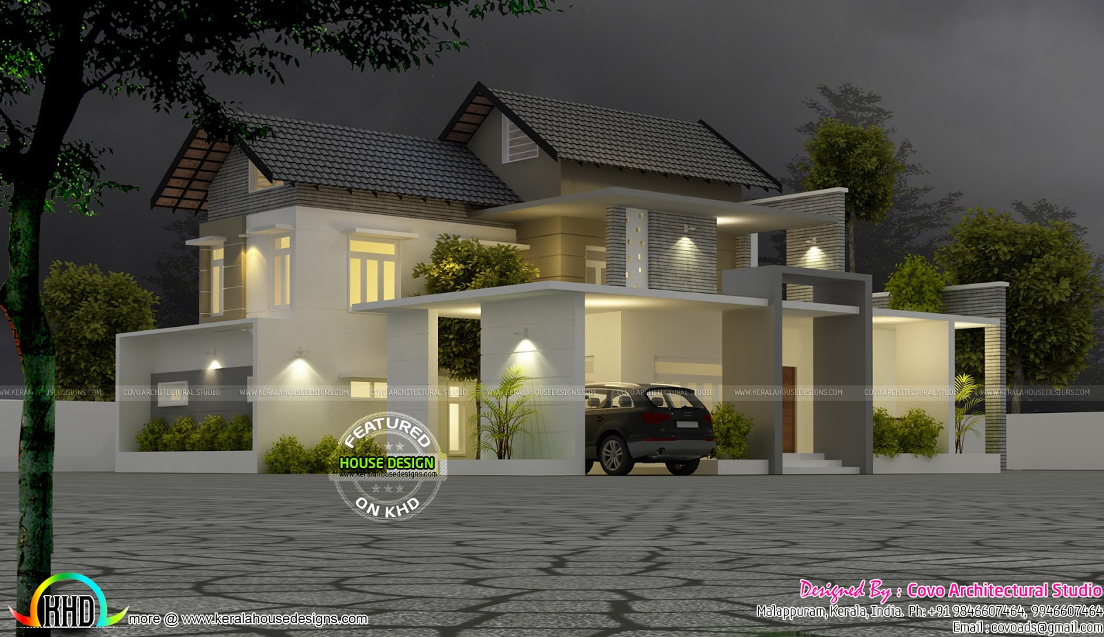 Cute modern 4 bhk house kerala home design and floor plans for 4 bhk home design