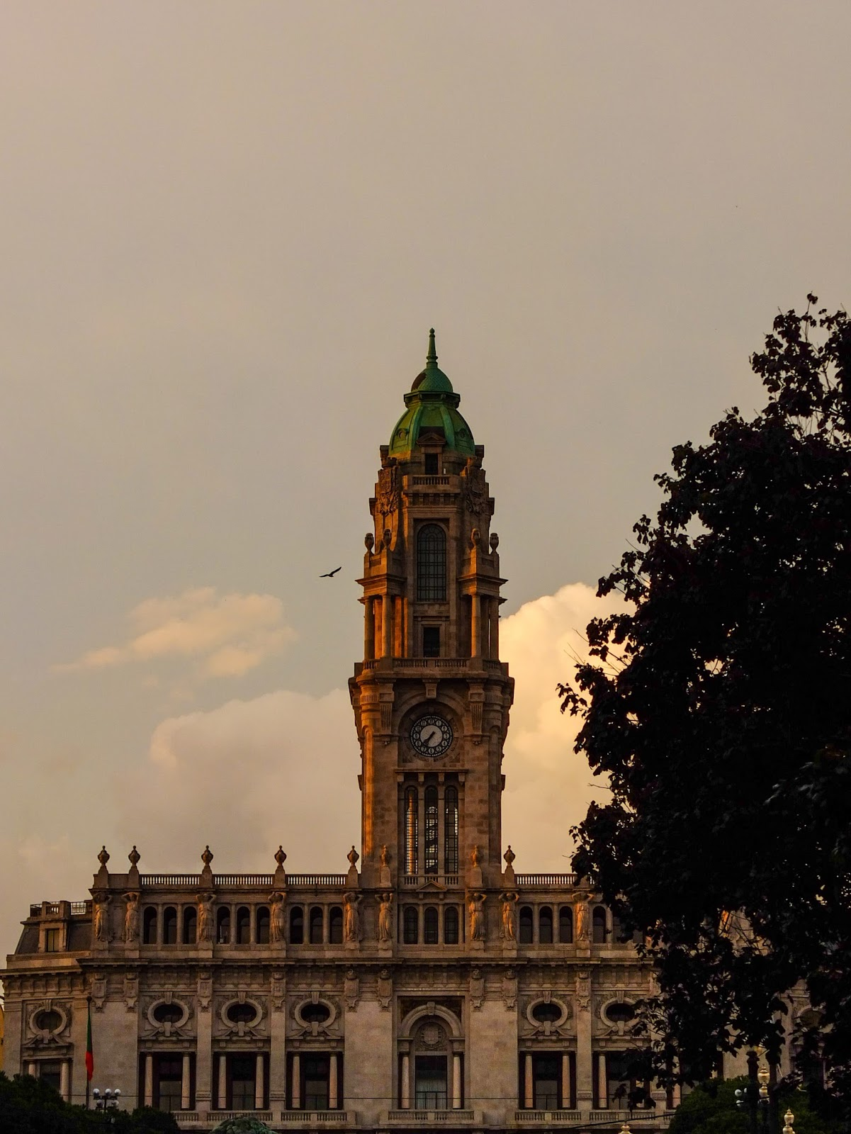 City Hall at sunset in Porto, Portugal.