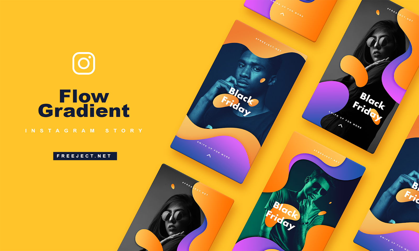 Free Download Flow Gradient Instagram Story Template - PSD File