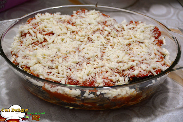 eggplant parmesan goint to the oven