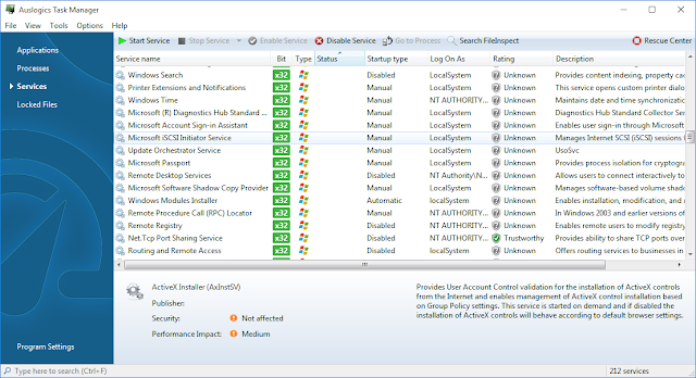 Auslogics Boost Speed 8 task manager