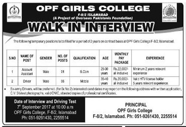 Job in OPS Girls College F-8/2 Islamabad Augest 2017