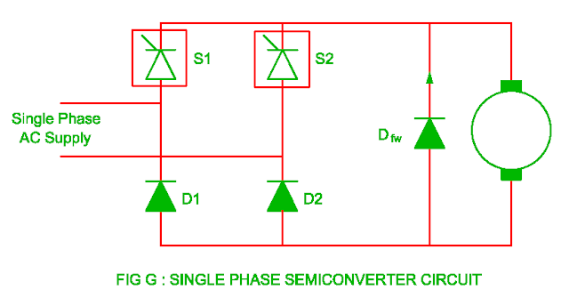 single phase semiconverter circuit