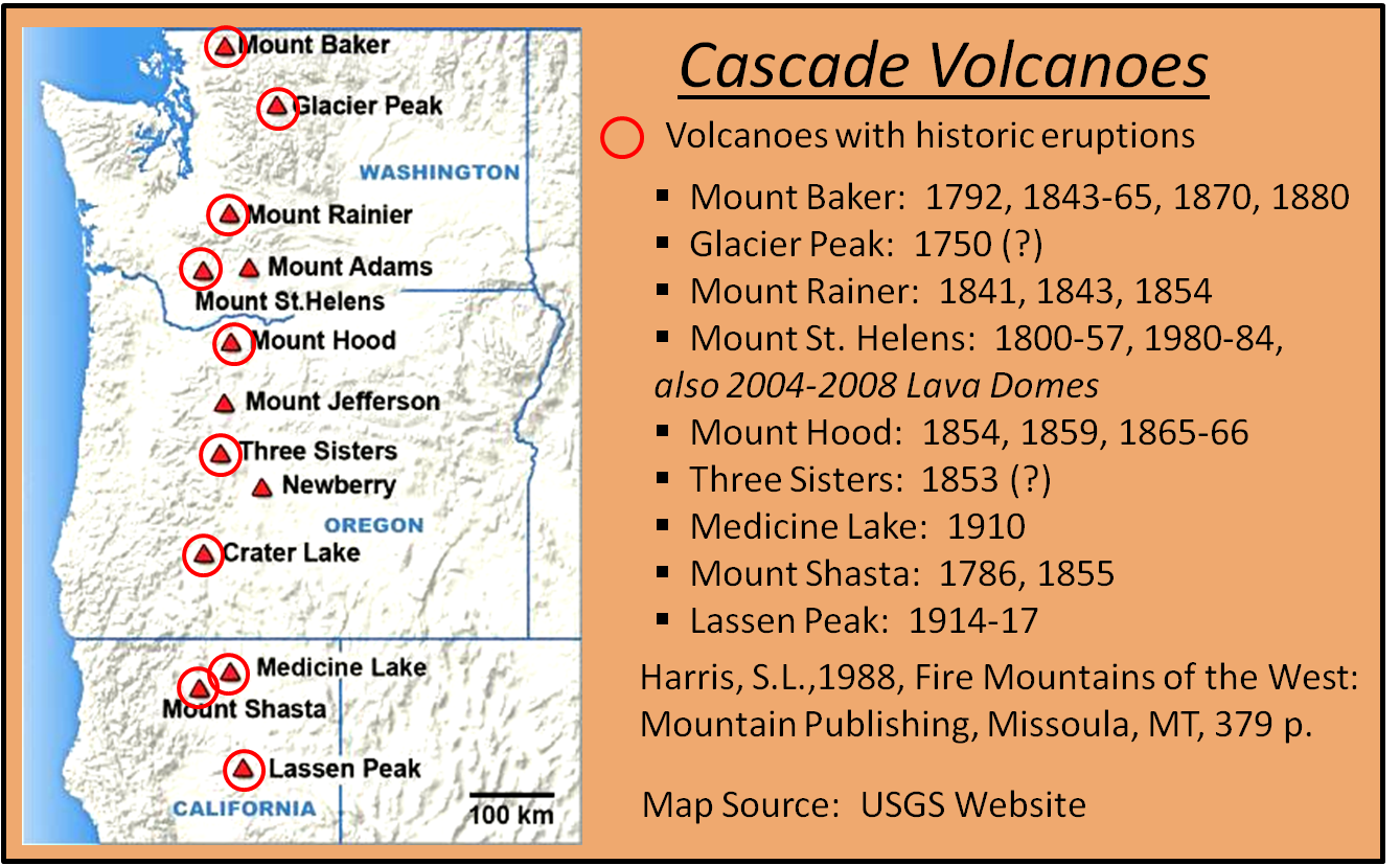 map of the cascade volcanoes the historic eruptions are highlighted