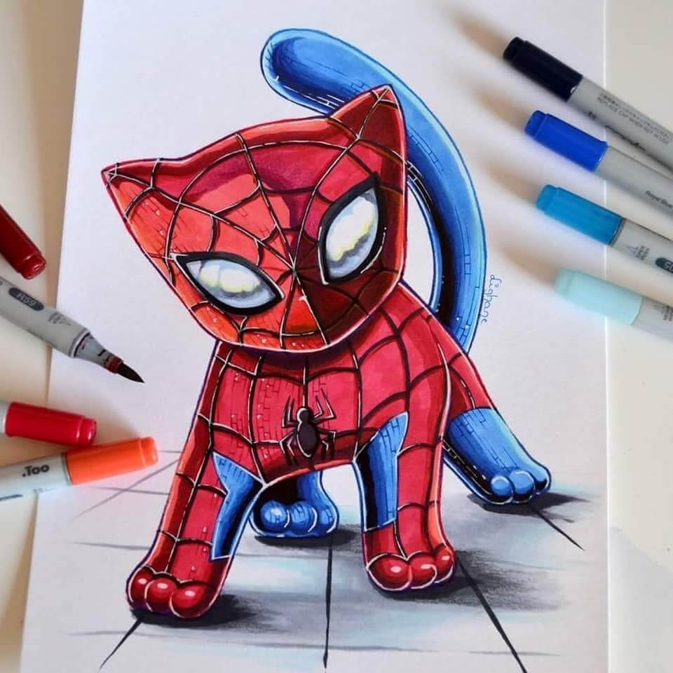 04-Spider-Kitty-Lisa-Saukel-lighane-Cute-Colored-Fantasy-Animal-Drawings-www-designstack-co