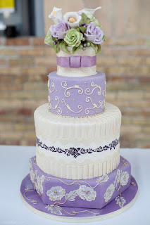 Patterned Lavender Wedding Cakes with Fresh Flower Cake Topper