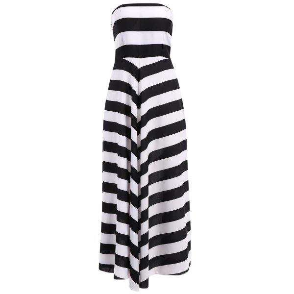 Strapless Color Block Maxi Dress