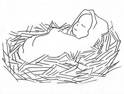 Pencil Of The Nativity Scene Sketch Templates