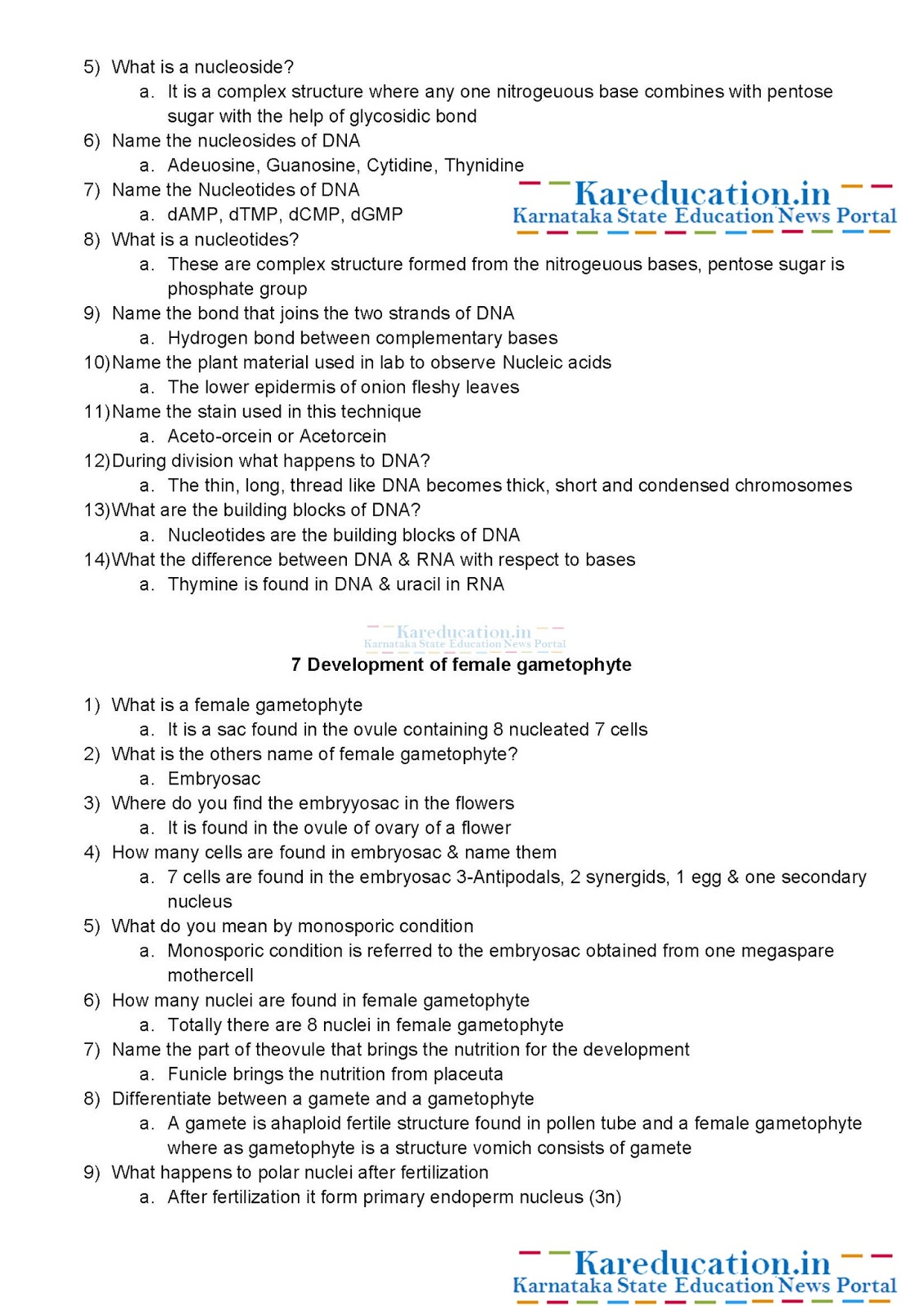 2 Puc Class 12 Biology Viva Voce Questions