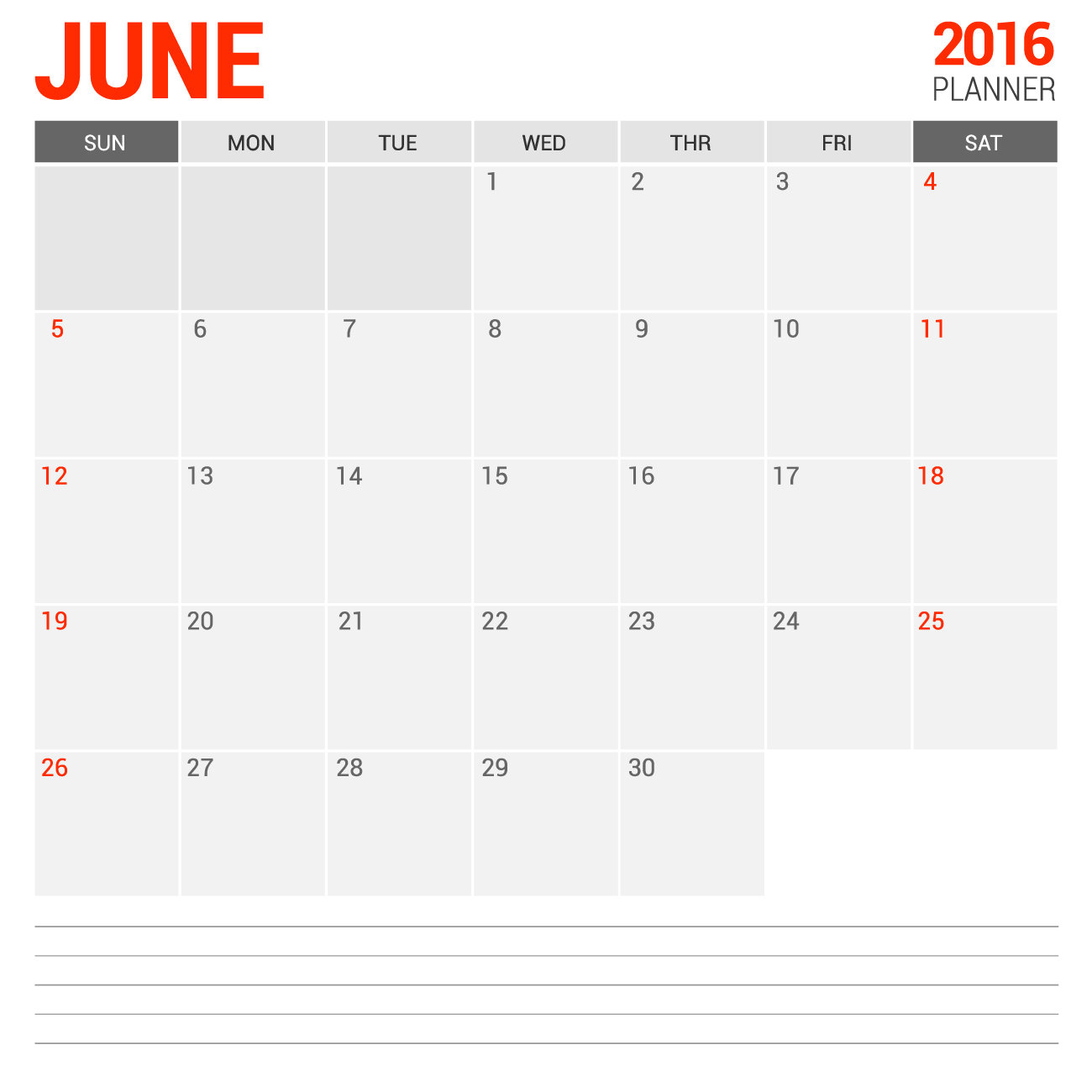 Blank calendar printable for June 2016 with notes