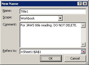 New names dialog box showing the Title indicator for JAWS title reading.
