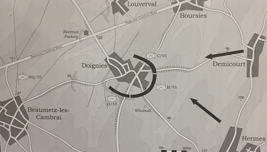 Doignies - the Consolidation (dark arrows indicate direction of German counter attacks) (Cook, page 118)
