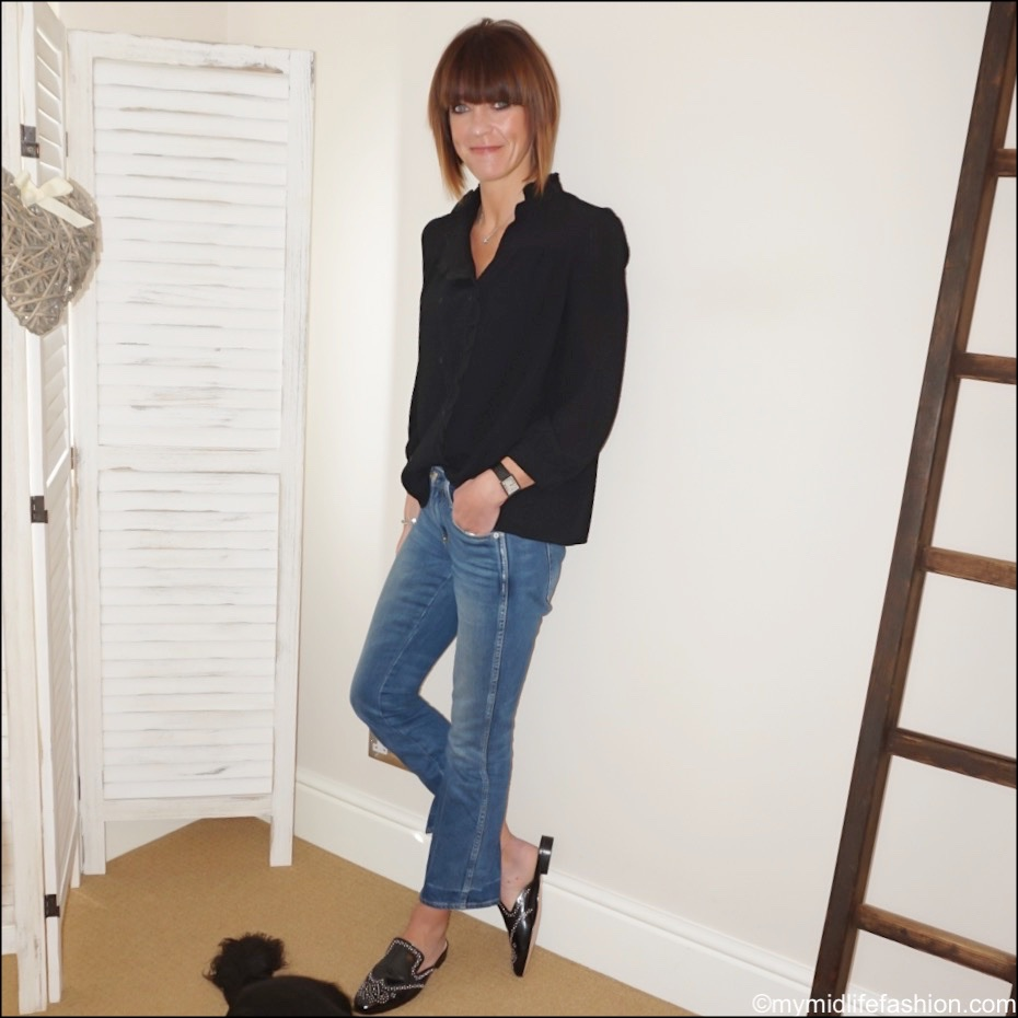 my midlife fashion, j crew studded academy penny loafer mules, bash double breasted seersucker blouse, j crew cropped kick flare jeans