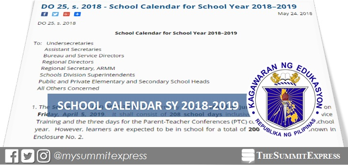 DepEd releases school calendar for SY 2018-2019 The Summit Express