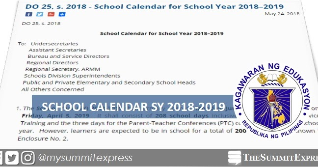 deped releases school calendar for sy 2018 2019 the summit express