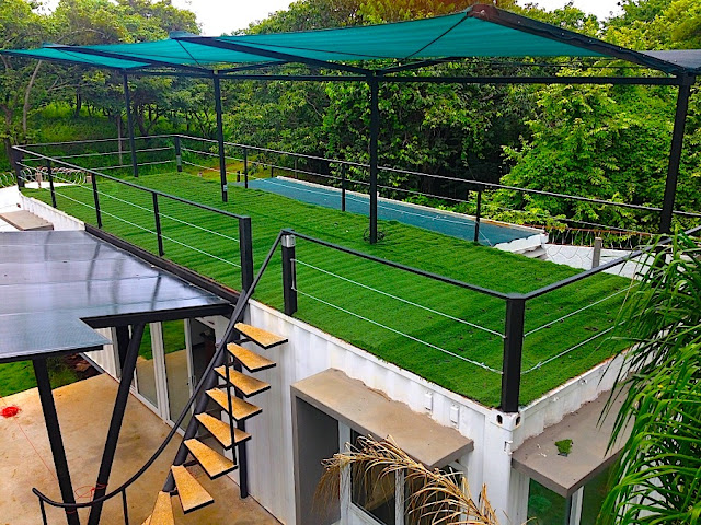 Artificial Green Roof + Deck Shipping Container Home, Costa Rica 1