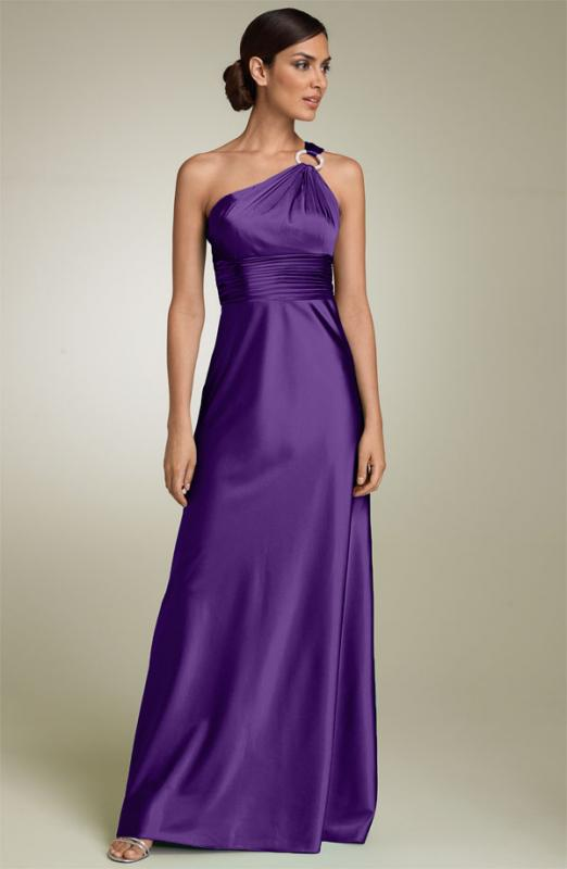One Shoulder Purple Wedding Dress 2016