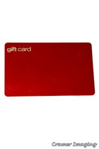 Cramer Imaging's professional quality photograph of a red gift card on a white background