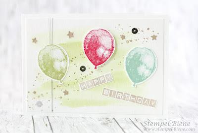Stampin' Up! Partyballons; Fotolichtzelt; Geburtstagskarte; Aquarelltechnik; Stampin' Up Stempelparty; Stempel-Biene