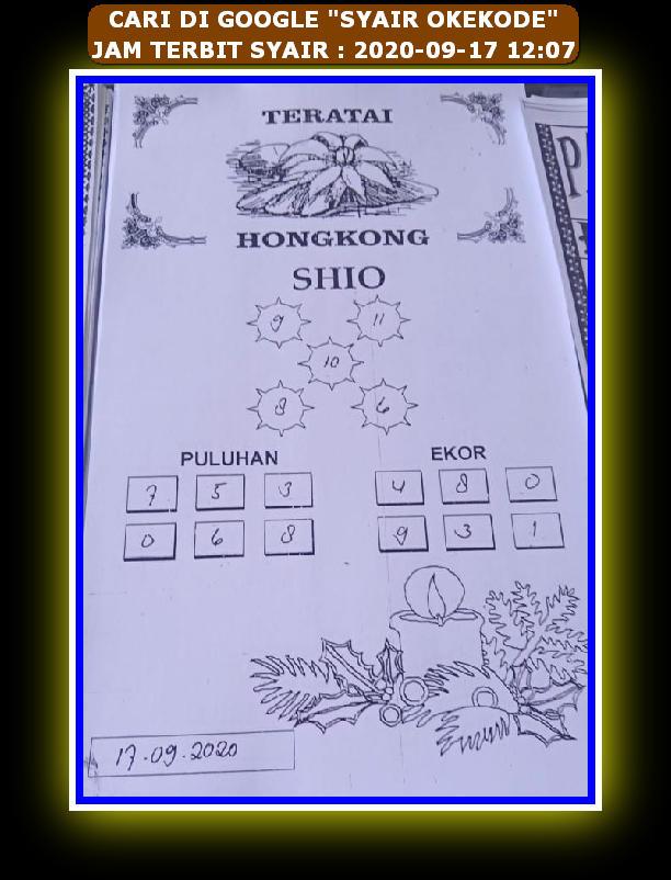 Kode syair Hongkong Kamis 17 September 2020 107