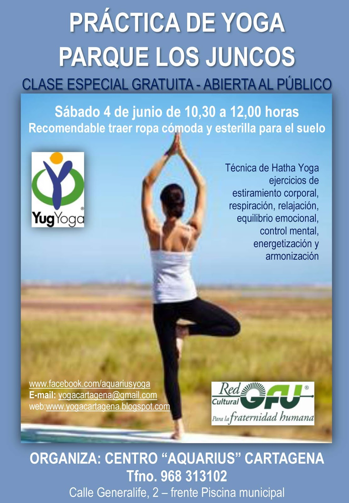 Clase al aire libre y gratuita! El próximo sábado 4 de Junio a las 10 30 en  el Parque de los Juncos en Cartagena cb6593ca1cd2