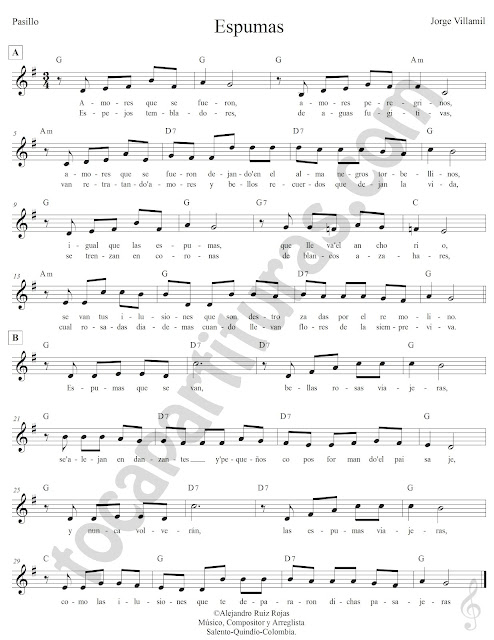 Espumas Pasillo de Jorge Villanil Partitura Fácil con Acordes Espumas Easy Sheet Music with Chords