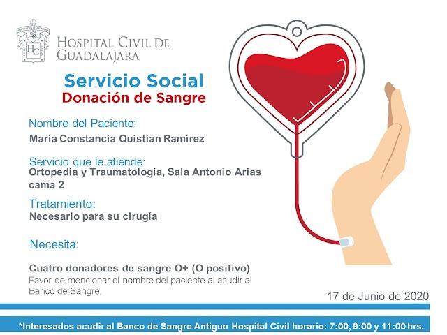 """Servicio Social de Sangre """"Urgente"""" I Paciente María Constancia Quistian Ramírez."""