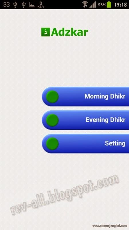Tampilan utama Adzkar - aplikasi dzikir pagi dan petang (rev-all.blogspot.com)