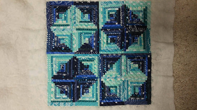 Teal mini swap quilt - aqua and navy mini log cabin quilt