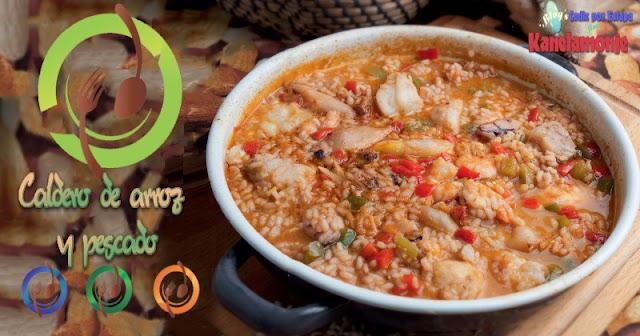 Caldero de arroz y pescado