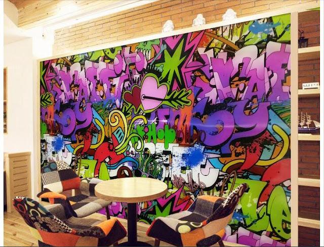 graffiti tapet ungdomsrum fototapet ungdomstapet häftig tapet