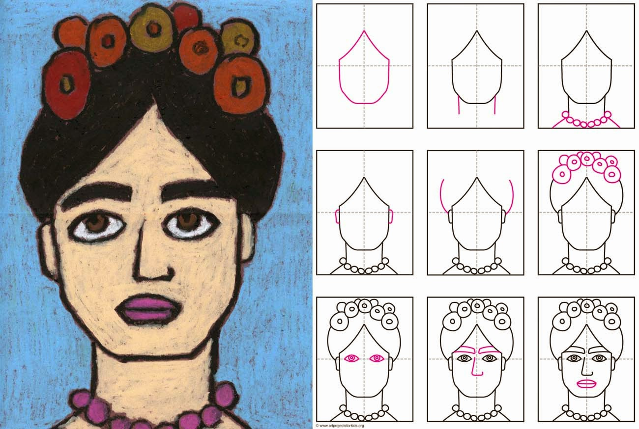 We Are Creating Masterpieces How To Draw Frida Steep By