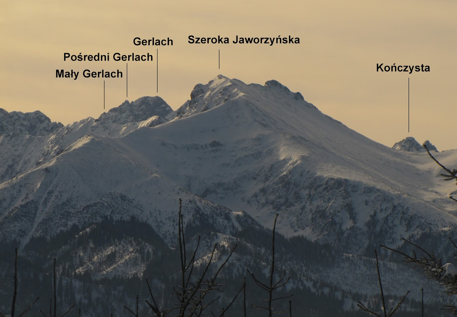 Szeroka Jaworzyńska, Gerlach i Kończysta.