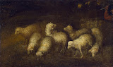 Sheep at a Watering Place by Bartolome Esteban Murillo - Christianity Paintings from Hermitage Museum
