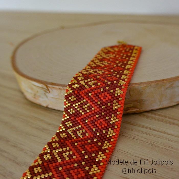 bracelet de fifi jolipois, tissage peyote pair, perles miyuki delicas, tissage par hellocestmarine