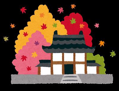紅葉のイラスト「京都のお寺」