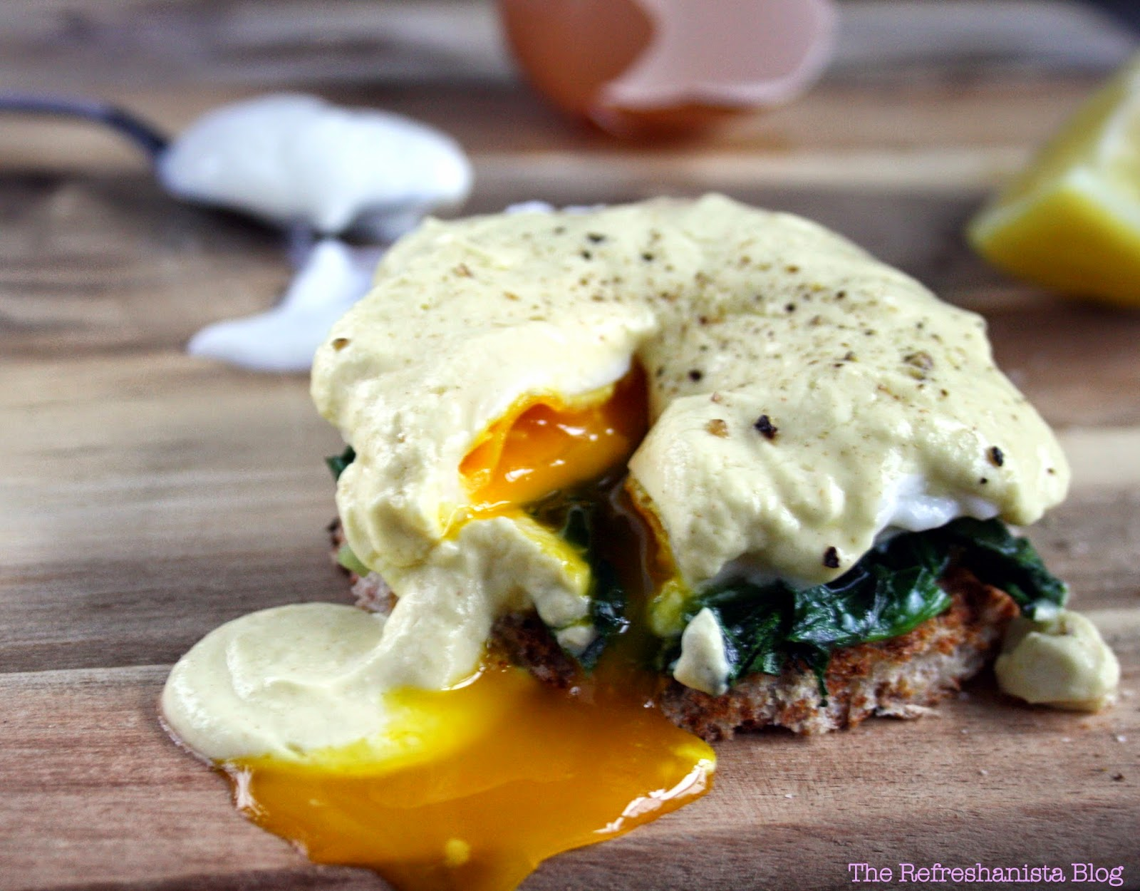 Healthier Eggs Benedict- no butter! The secret to the luxurious sauce? Greek yogurt! | The Refreshanista Blog