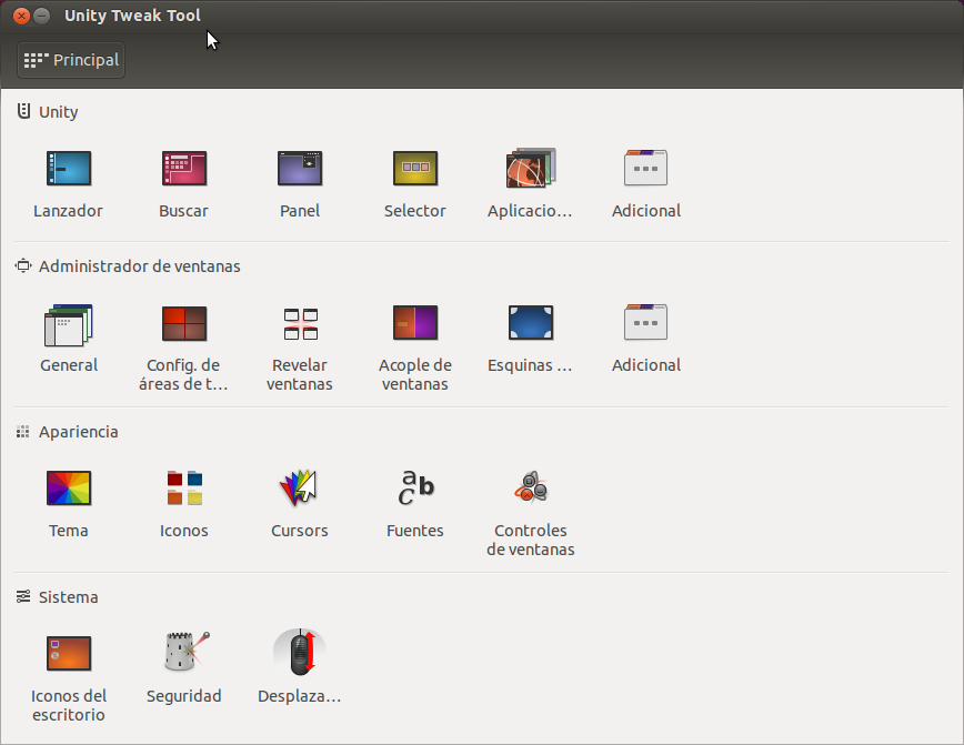 Unity Tweak Tool, ventana de configuración